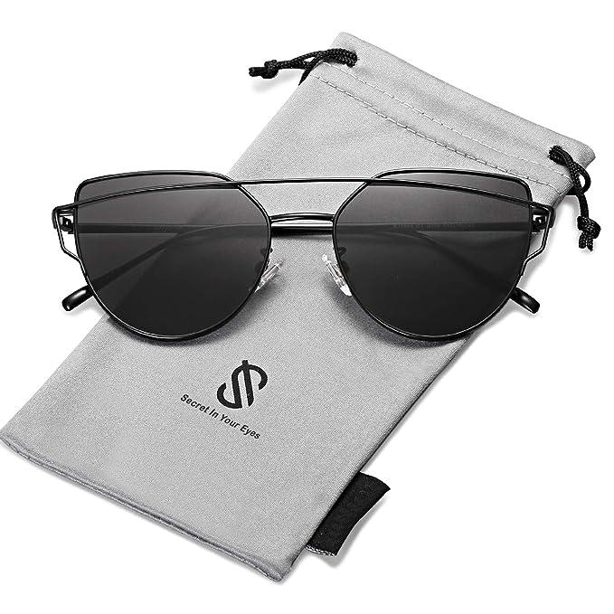 SOJOS Gafas De Sol De Moda Marca Metal Para Mujer-Lentes Planos De Espejo- Con Estilo Ojo De Gato SJ1001 Negro Frente/Gris Lentes