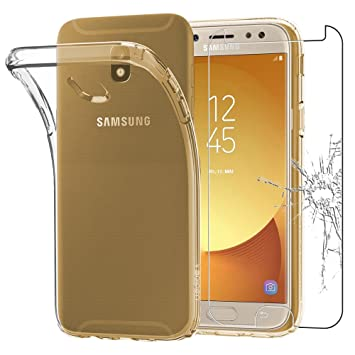 ebestStar - Compatible Funda Samsung J7 2017 Galaxy SM-J730F Carcasa Silicona, Protección Claro Ultra Slim, Transparente + Cristal Templado [Aparato: ...