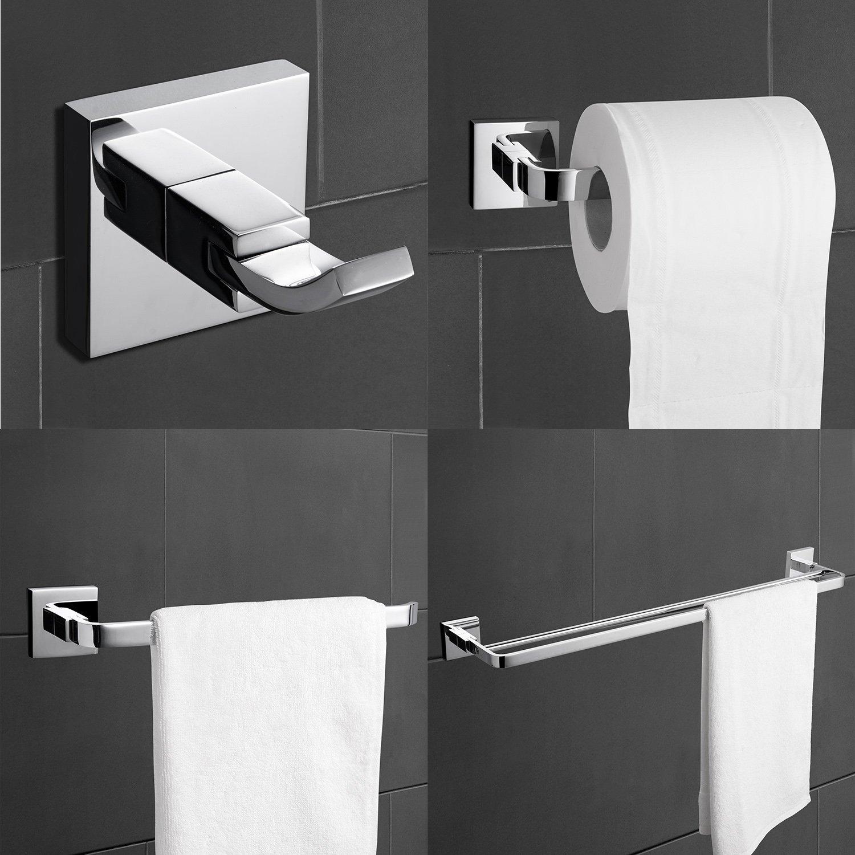 Ouku Contemporary Brass Chrome Finish Bathroom Accessory Sets 4