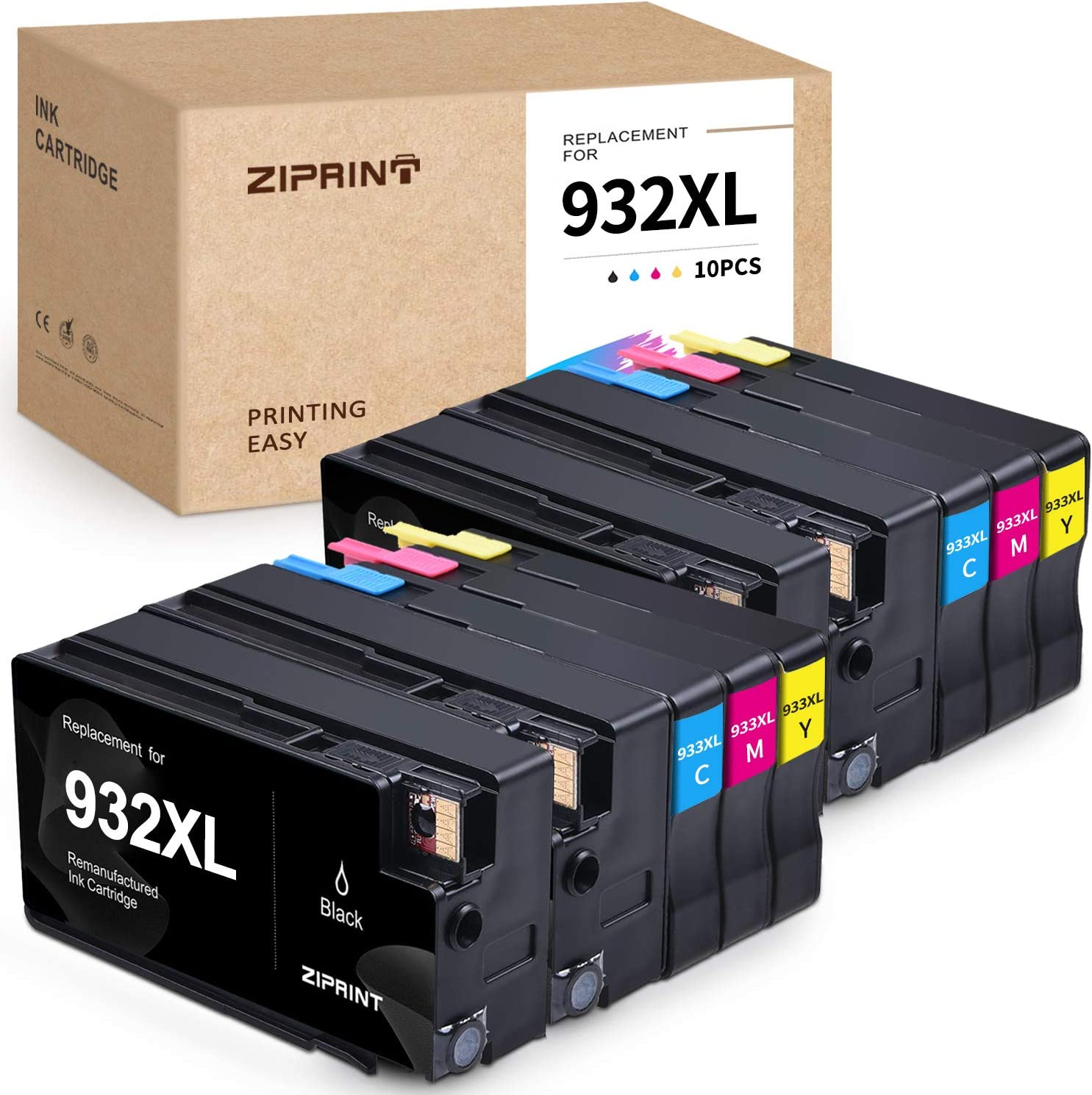 Ziprint Compatible Ink Cartridge Replacement for HP 932 933 XL 932XL 933XL for HP OfficeJet 6100 6600 6700 7110 7510 7610 7612 Printer (Black Cyan Magenta Yellow, 10-Pack)