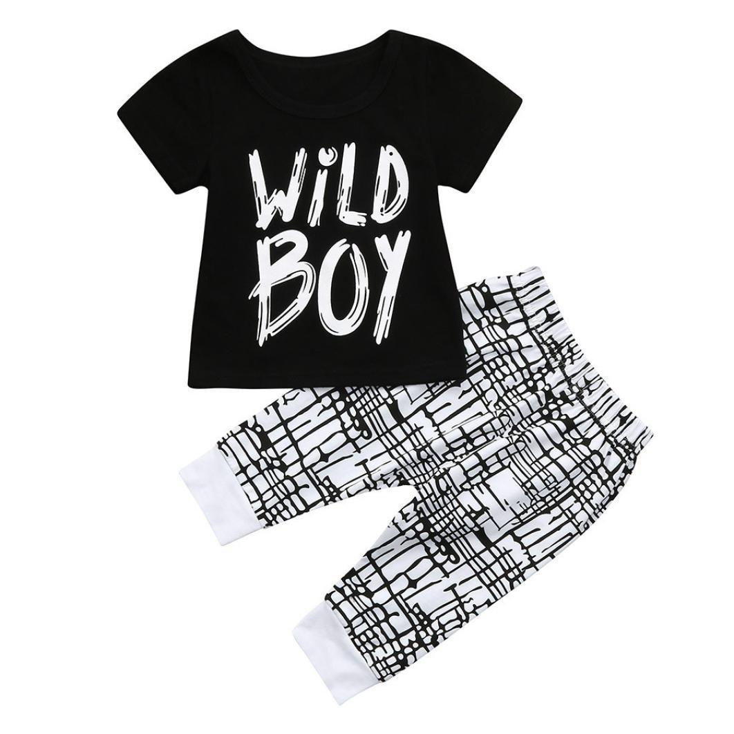 Webla Toddler Baby Boys Letter Wild Boy Print Short Sleeve Summer T Shirt Tops+Pants 2Pcs Clothes Set Ages 1-3 Years