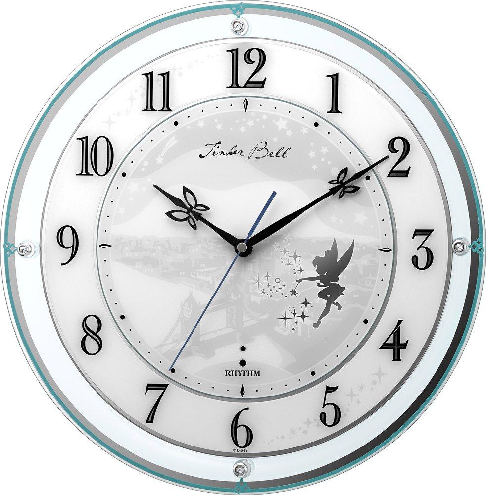 リズム時計工業 置き時計掛け時計 ティンカーベル Φ34.1x5.4cm ディズニー キャラクター 電波 アナログ 4MY854MT05 B07BK8FBMK ティンカーベル ティンカーベル