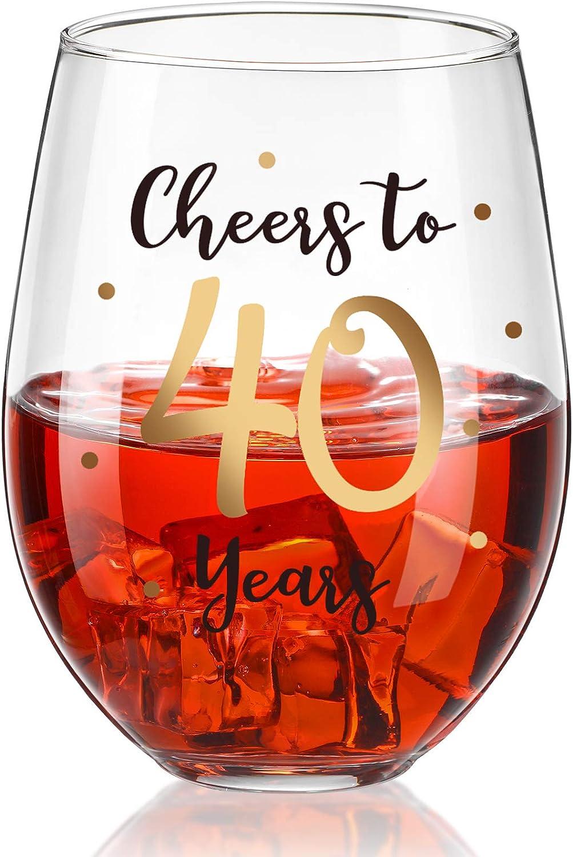 Copa de Vino sin Tallo de 40 Cumpleaños, Regalo de Copa de Vino de Cheers to 40 Years para Hombres Mujeres Decoraciones de Fiesta de Aniversario Boda 40 Cumpleaños, 17 oz sin Tallo