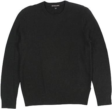 ece86a88b8d MICHAEL Michael Kors Men s Waffle-Knit Crew-Neck Sweater Small Charcoal Mel  at Amazon Men s Clothing store