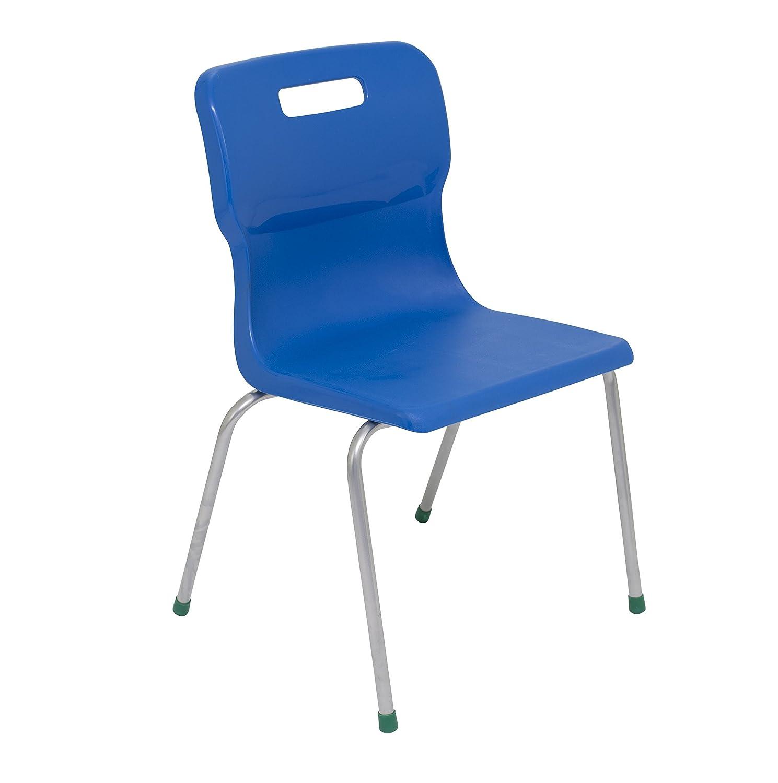 Titan 4 Leg Classroom Chair - Size 5, Ages 9-13, Pack of 2, Plastic, Blue, 2-Piece T15-B-2PK