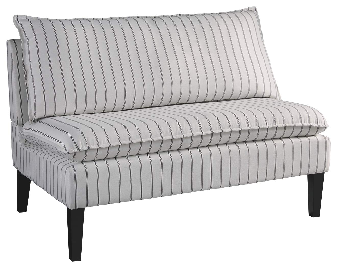 French country grey stripe bench.
