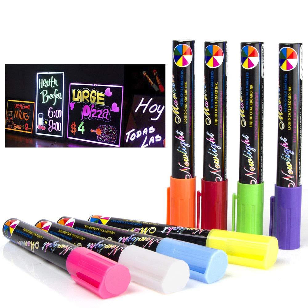 sirensky no tóxico Highlighter fluorescente rotulador de tiza líquida 8 Color para LED Junta de escritura 6 mm: Amazon.es: Juguetes y juegos