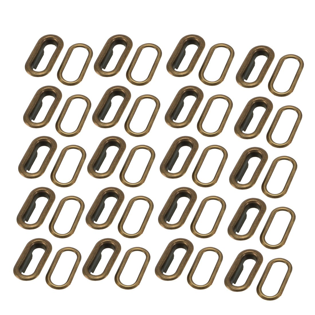uxcell 20Pcs 18mm Inner Length Oval Shaped Iron Grommet Bronze Tone w Washer a17110300ux0236