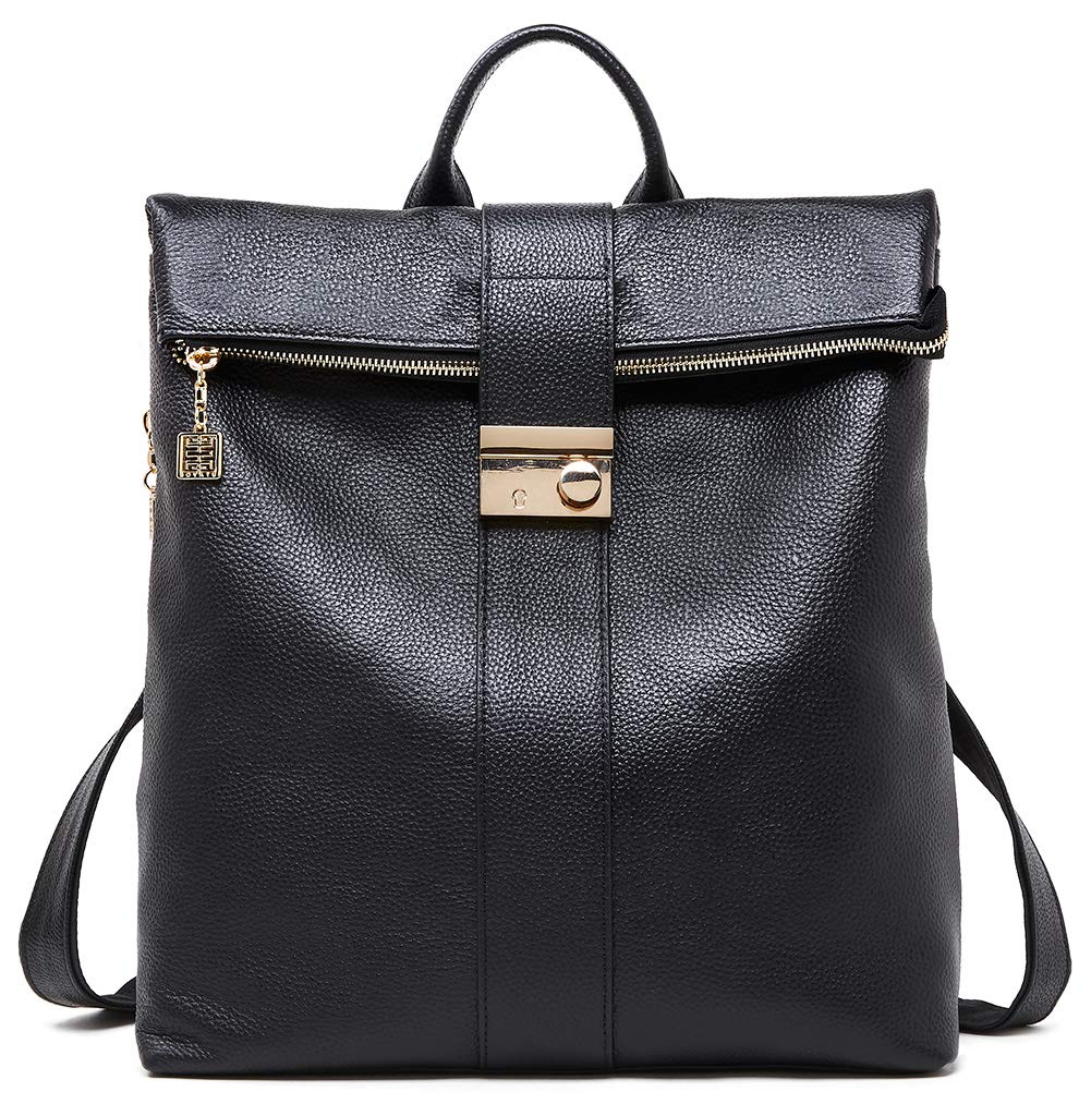 BOYATU Genuine Leather Backpack Purse for Women Anti-theft Travel Shoulder Bag Black by BOYATU