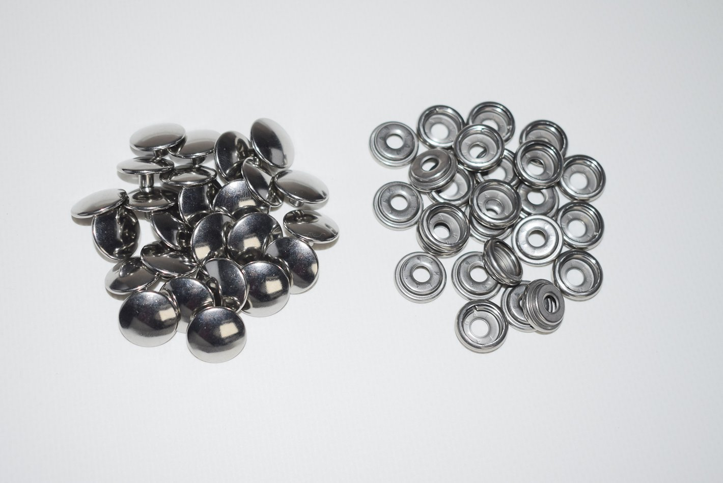 Stainless Steel Snap Fastener's, 25 Piece, Cap & Socket Only, Marine Grade, By Vaughan Bros