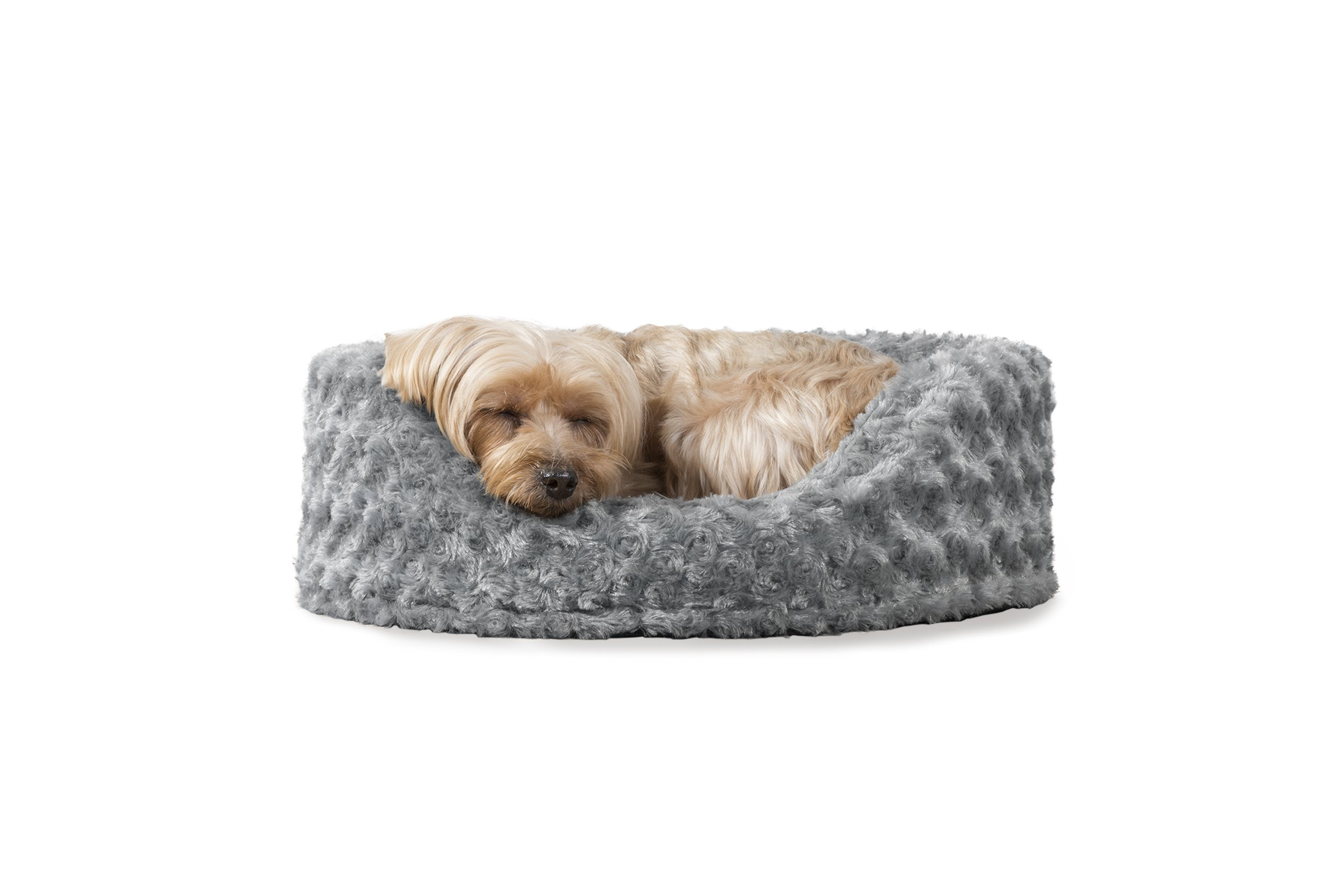 Furhaven Pet Dog Bed   Oval Ultra Plush Pet Bed for Dogs & Cats, Small, Gray