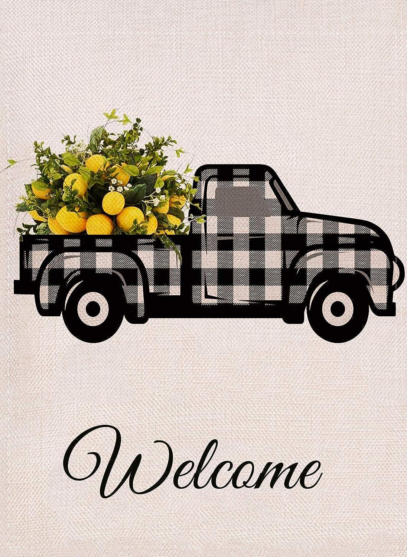 Dyrenson Summer Lemon Truck Welcome Garden Flag Farmhouse Double Sided, Buffalo Check Plaid Burlap House Yard Décor, Home Decorative Spring Small Seasonal Outdoor Flag 12 x 18