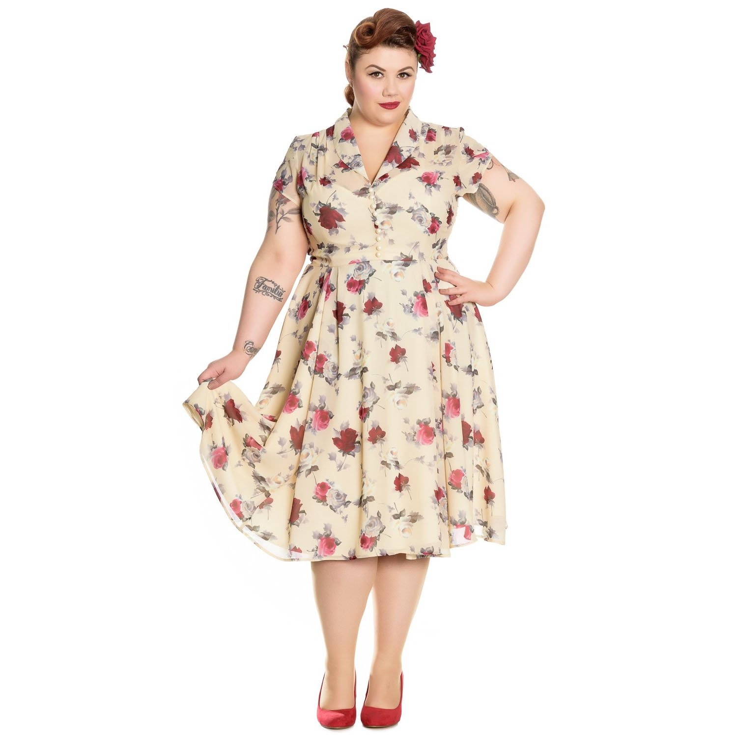 Vintage Tea Dresses, Floral Tea Dresses, Tea Length Dresses Hell Bunny Leah Cream 1940s Wartime WW2 Floral Retro Vintage Victory Dress �25.99 AT vintagedancer.com
