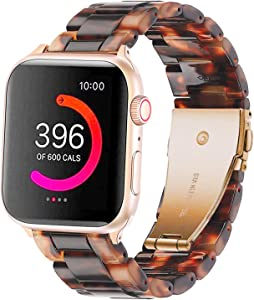 Omter Band Replacement for Apple Watch 40mm 38mm Women Men Fashion Resin Band Bracelet Strap Compatible with iWatch Series 6 SE 5/4,Series 3/2 /1(Tortoise-Tone 40mm 38mm)