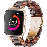 Omter Compatible with Apple Watch バンド 40mm Series 5 /4, 38mm Series 3/ 2 / 1, ファッションな樹脂製ブレスレット 時計バンドfor iWatch アップルウォッチ の全シリーズ (ブラウン 38mm 40mm)