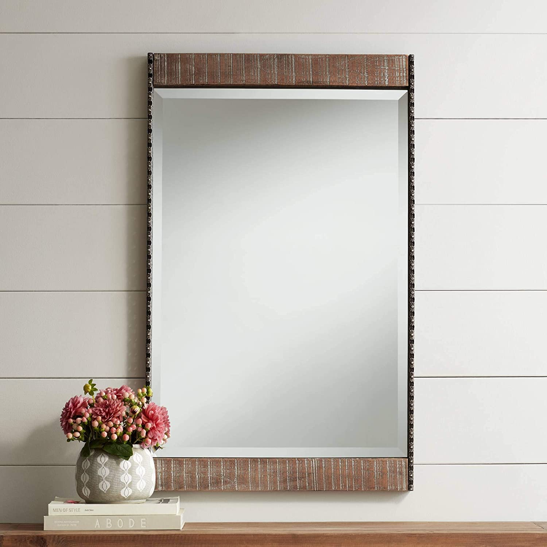 Amazon Com Noble Park Ameena 22 1 4 X 30 1 2 Wide Wood Wall Mirror Home Kitchen