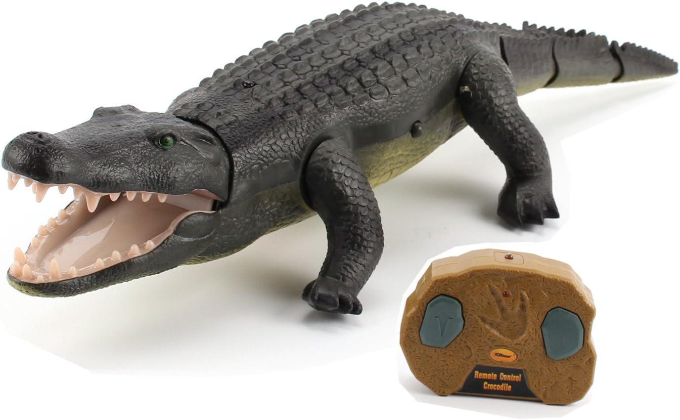 Top Race Remote Control Crocodile, Prank Crocodile RC Animal Toy, Parece Real Se Siente Real Rugidos y se Mueve como un Verdadero cocodrilo (TR-Croc)