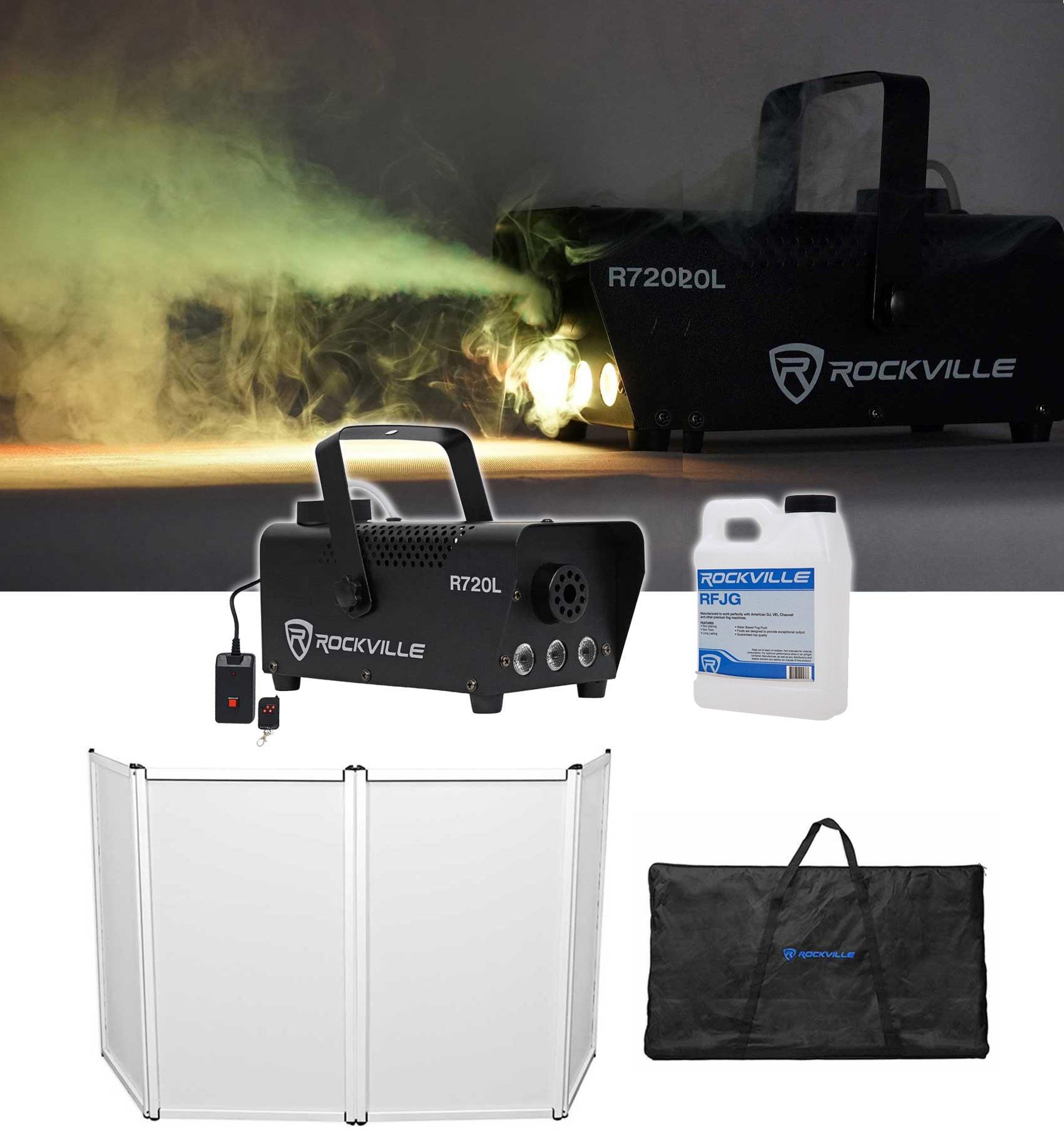 Rockville RFAAW DJ Event Facade Booth+Travel Bag+Scrim+LED Fog Machine+Juice