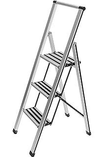 Home Vida 3 Stufenleiter mit Sicherheitshandlauf matt faltbar sicher rutschfest