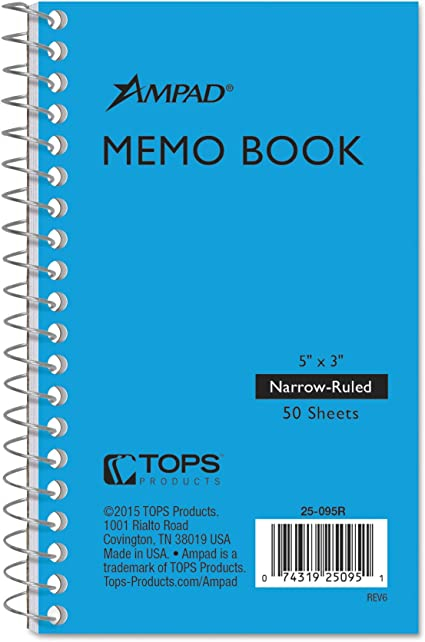 Mead Memo Book College Ruled 5x3 Wirebound 60 Sheets Asst 45534