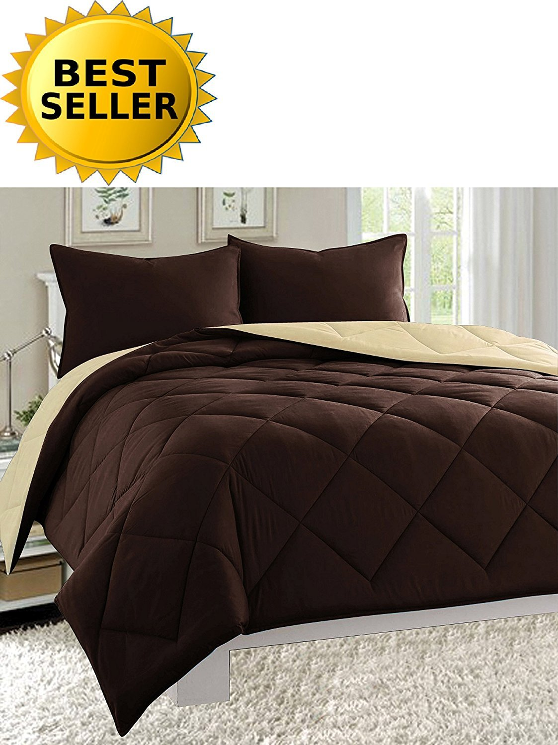 Celine Linen Luxury All Season Light Weight Down Alternative Reversible 2-Piece Comforter Set Chocolate Brown/Cream