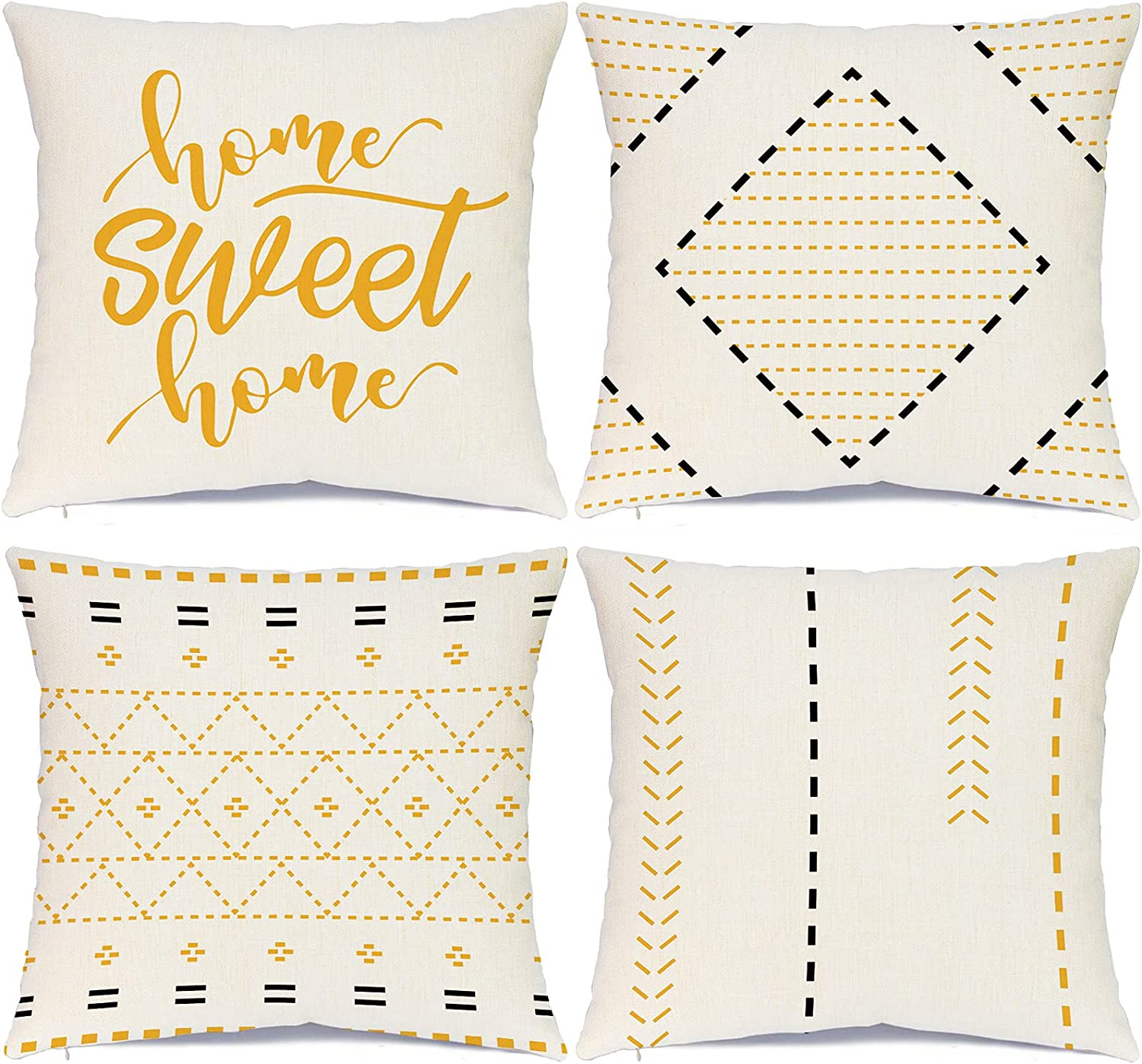 Hlonon Decorative Boho Throw Pillow Covers for Couch Set of 4 Modern Style Stripes Geometric Square Cushion Covers for Bed Sofa Living Room Home Decoration (Black + Yellow, 18x18 Inch)