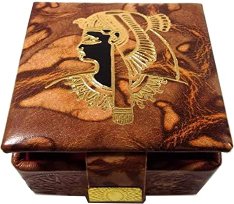 """1 Egyptian Leather Jewelry Ring Box with Queen Cleopatra Design 2/""""X 2/"""""""