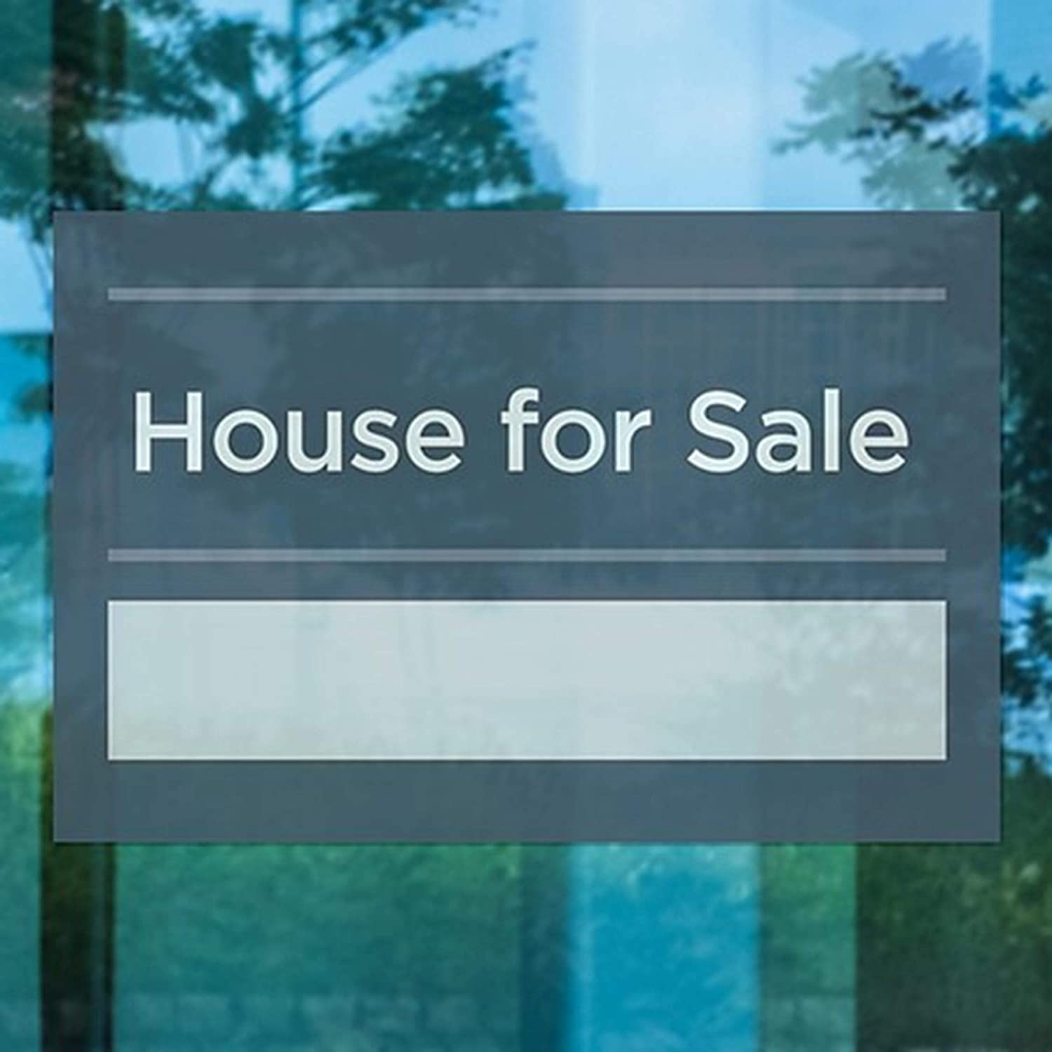 CGSignLab House for Sale 30x20 Basic Navy Clear Window Cling 5-Pack