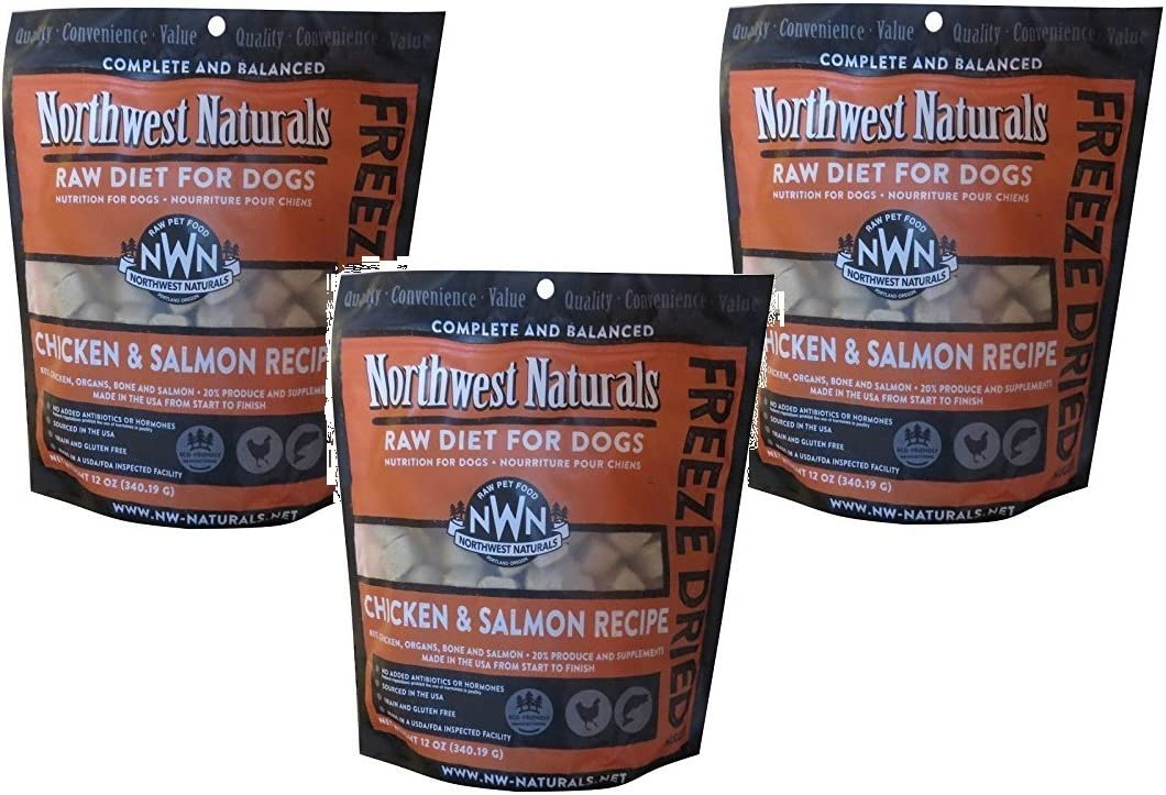 Northwest Naturals (3 Pack) Raw Rewards Freeze Dried Nuggets - Dinner for Dogs (Salmon/Chicken) 12oz Each
