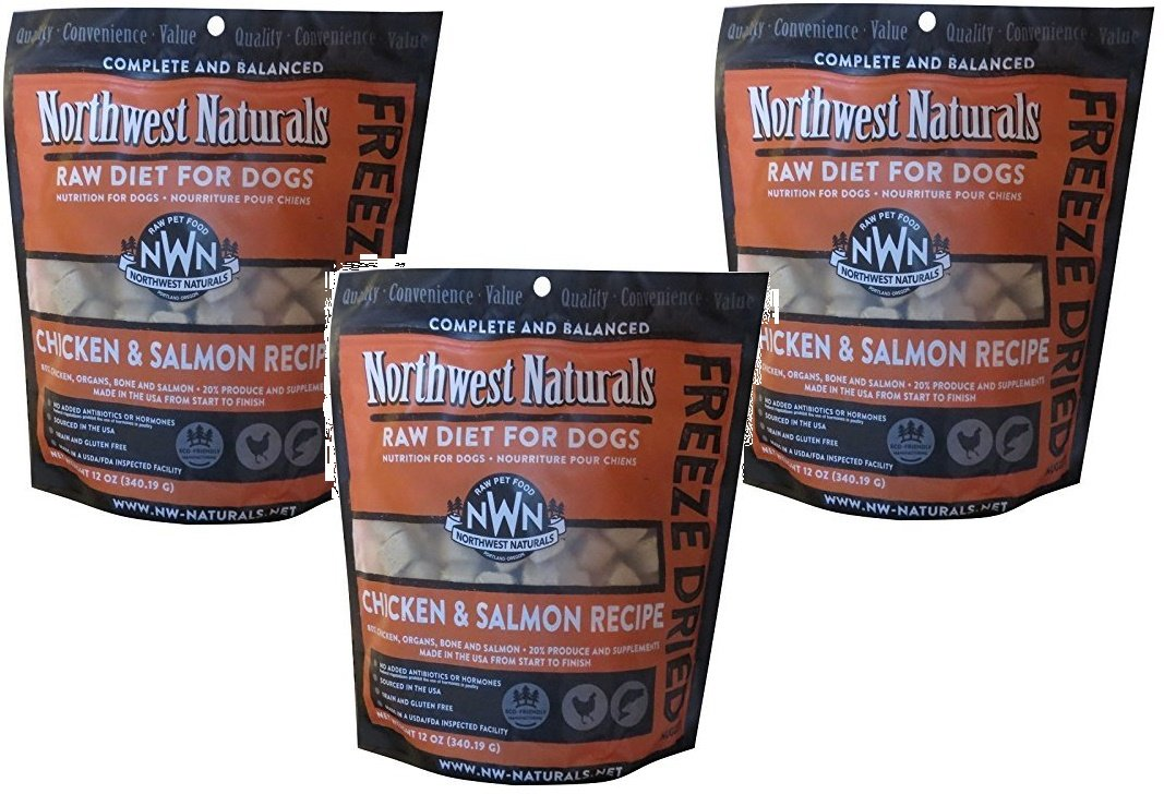 (3 Pack) Northwest Naturals Raw Rewards Freeze Dried Nuggets - Dinner for Dogs (Salmon/Chicken) 12oz Each by Northwest Naturals