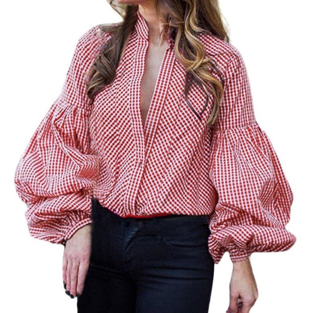 iQKA Women Casual Puff Long Sleeve Blouse Deep V-Neck Button Plaid Loose Top T-Shirt iQKA0712