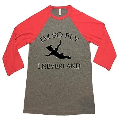 a01d8604c I'm So Fly I Neverland w/Peter Pan Flying, Funny T-Shirt, Raglan Top |  Amazon.com