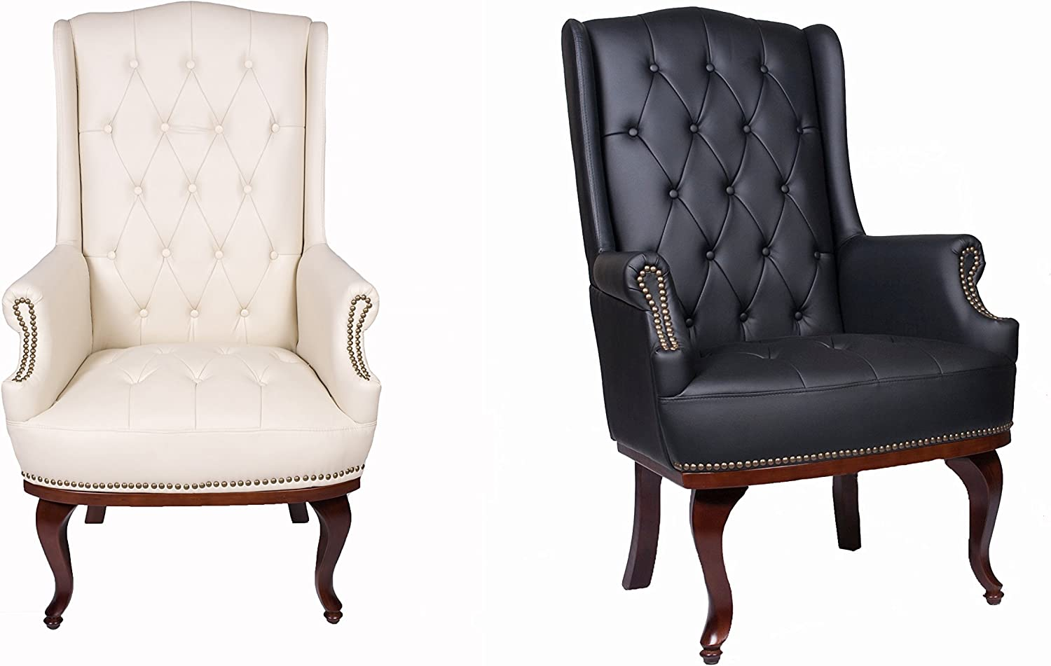 ANGEL HOME /& LEISURE Queen Anne Fireside High Back wing back cream leather chair Chesterfield type armchair Beige