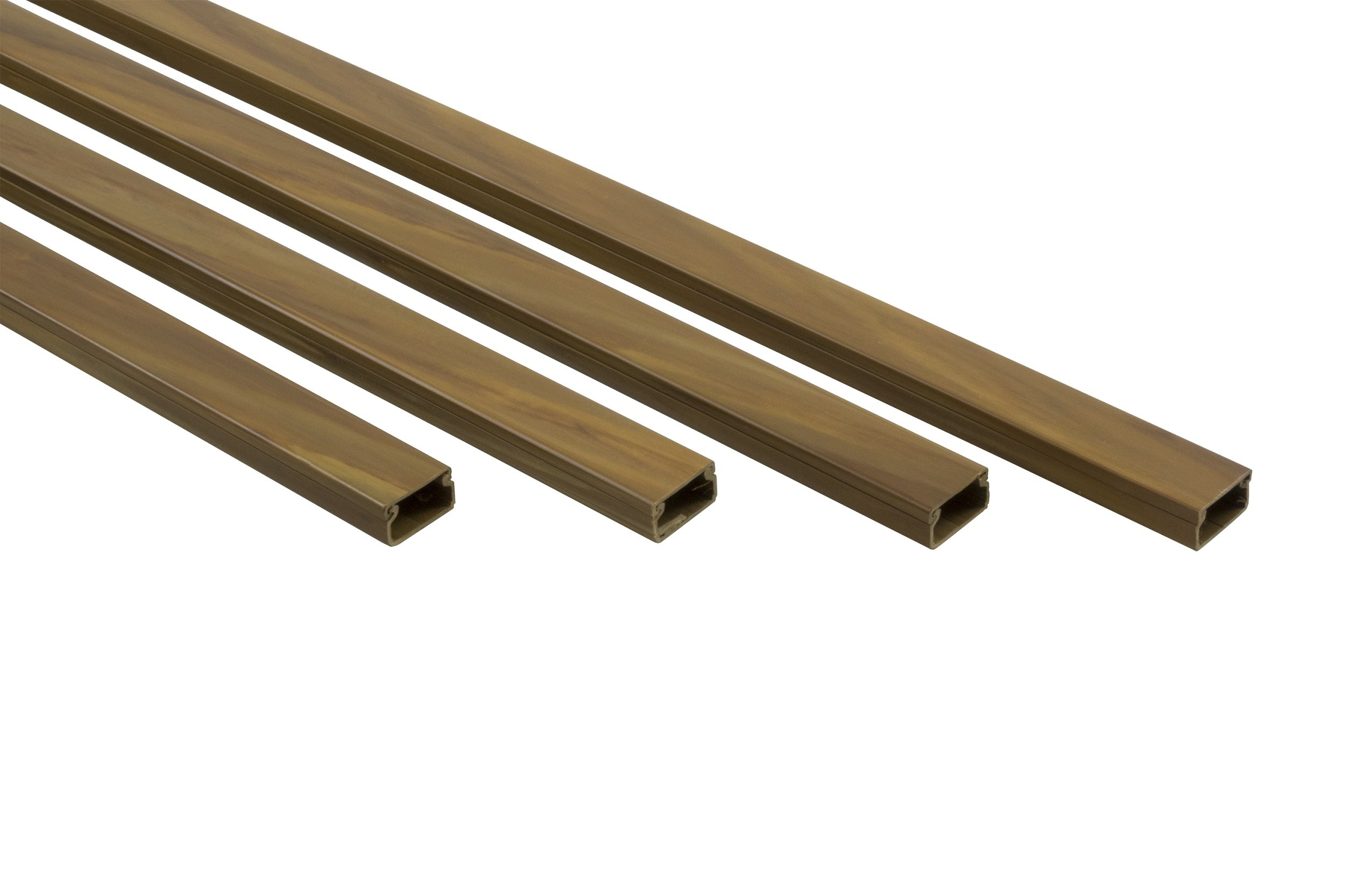 10 ft Cable Raceway Kit for Concealing and Cord Organizing - Brown Wood Look 0.78x0.39inches 4x30inch strips