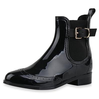 b9c52311b02668 SCARPE VITA Damen Stiefeletten Chelsea Boots Lack Schnallen Gummistiefel  Schuhe 160512 Schwarz Lack 36
