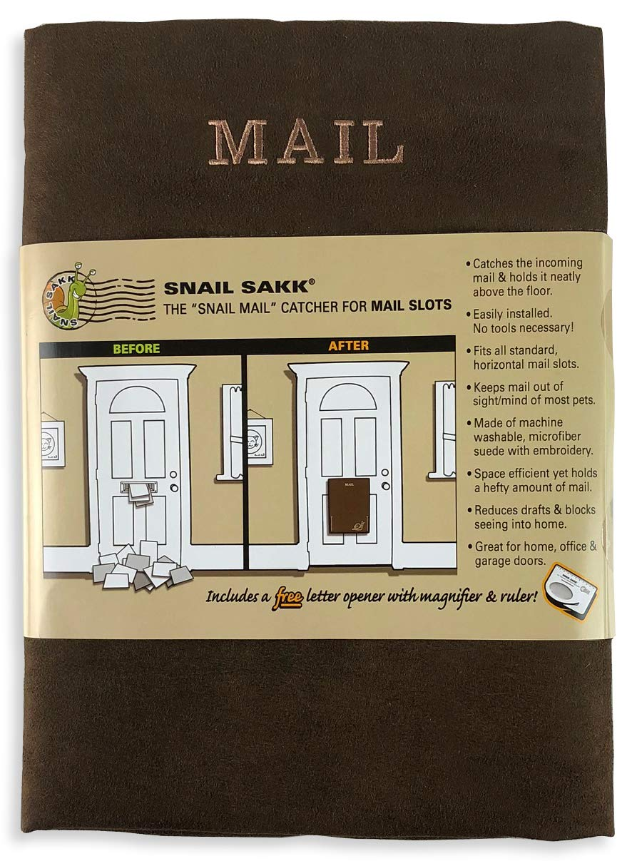 SNAIL SAKK: Mail Catcher For Mail Slots - CHOCOLATE. No tools/screws necessary! Space efficient, reduces drafts, and more! For home, office, and garage doors.   Basket, Letter Cage, Door, Bag  
