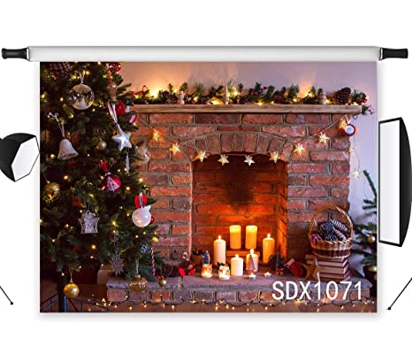 lb 7x5ft christmas tree photography backdrop fireplace candles photo background party decorations studio prop customized sdx1071 - Fireplace Christmas Decorations Amazon