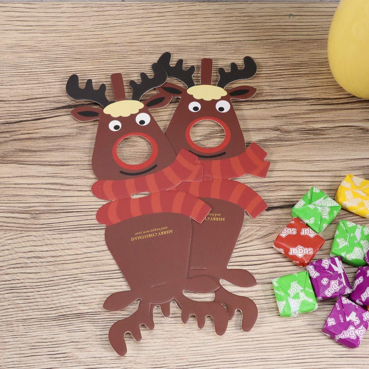 rouge su/çes cadeaux de f/ête DOITOOL Lot de 25 cartes de No/ël en papier su/çettes de renne /élan pour d/écoration de bonbons de cerf