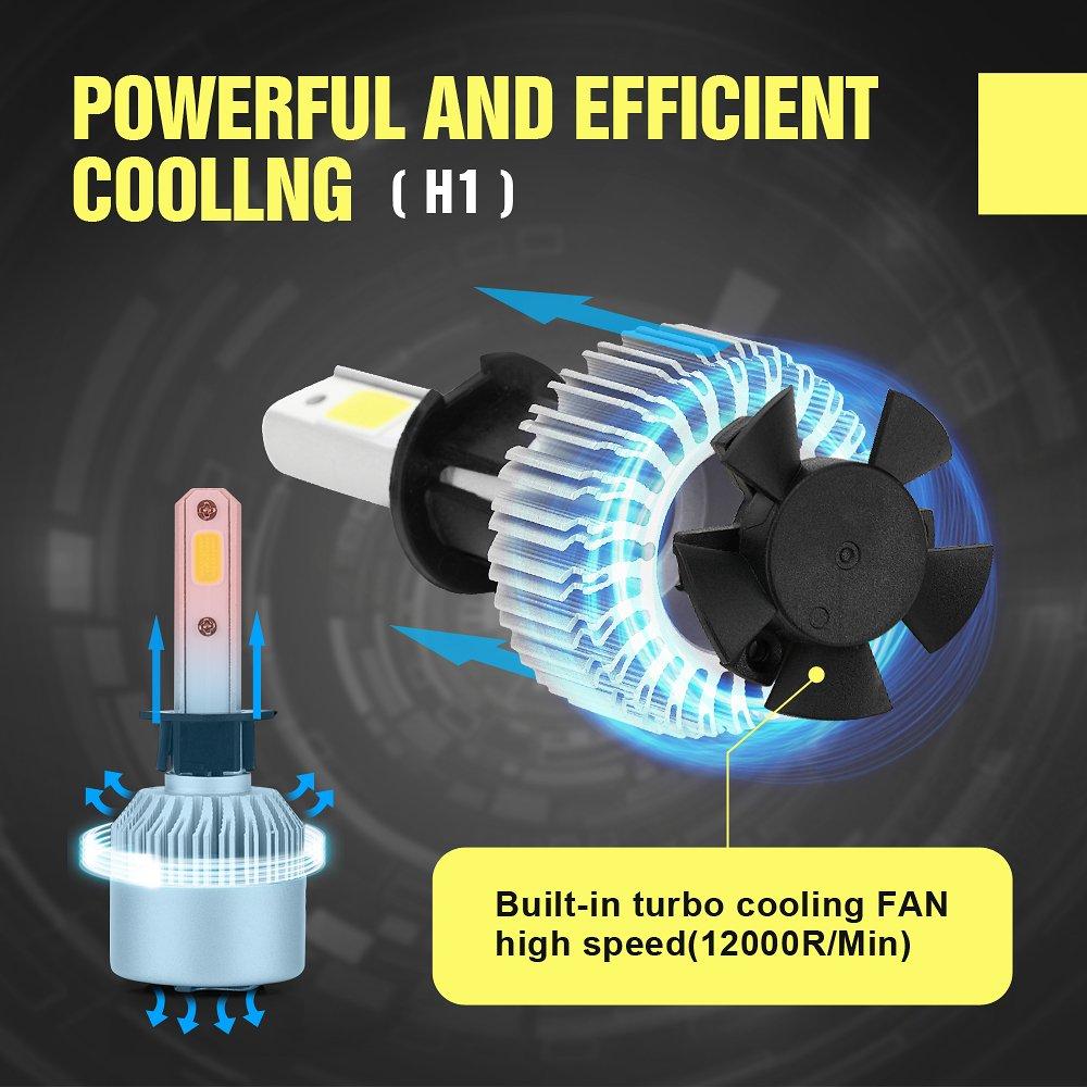 XCSOURCE 20000LM 200W CREE LED coche faro H1 bombilla de halógeno incorporado en el ventilador de refrigeración 6500K blanco LD1031: Amazon.es: Iluminación
