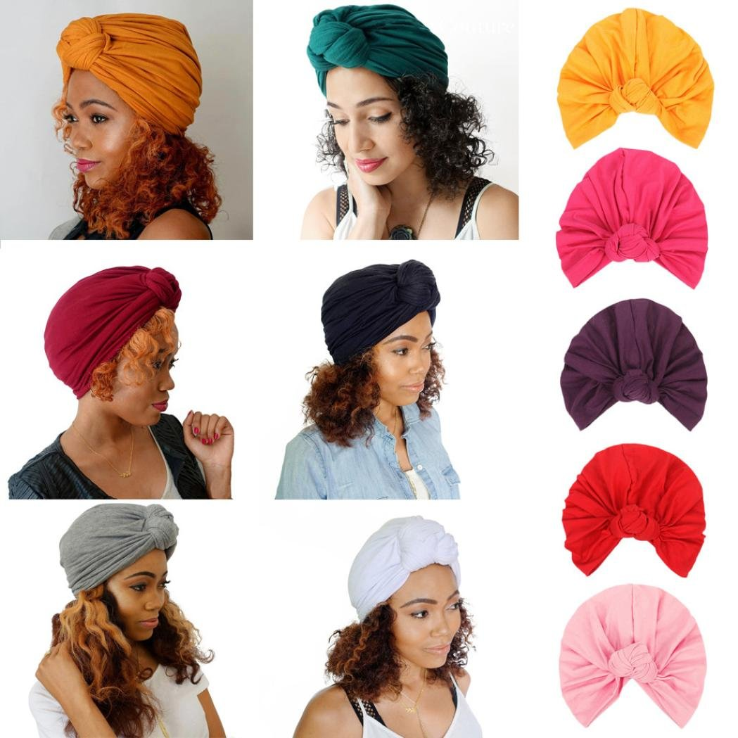 Bow Casual Head Wrap Cap, Adult Women Bow Cancer Chemo Hat Beanie Hat Turban Headdress Cap Knit Hats (White) by BeautyVan-Winter (Image #3)