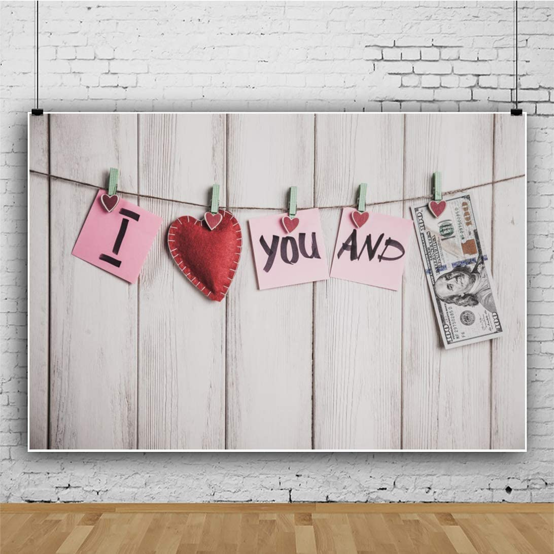 7x5ft Vinyl Photography Background I Love You Papers Red Hearts Dollar on Rope White Wooden Plank Board Backdrop Video Display TV Film Production Portrait Shooting Vinyl Photo Booth Prop