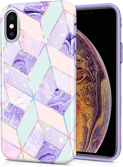 CAOUME iPhone Xs Max Case - Holographic Geometric Marble Design Purple Blue Cute - Protective Stylish Cases for Apple Phone - Cover with Silicone Bumper Defender Camera and Screen