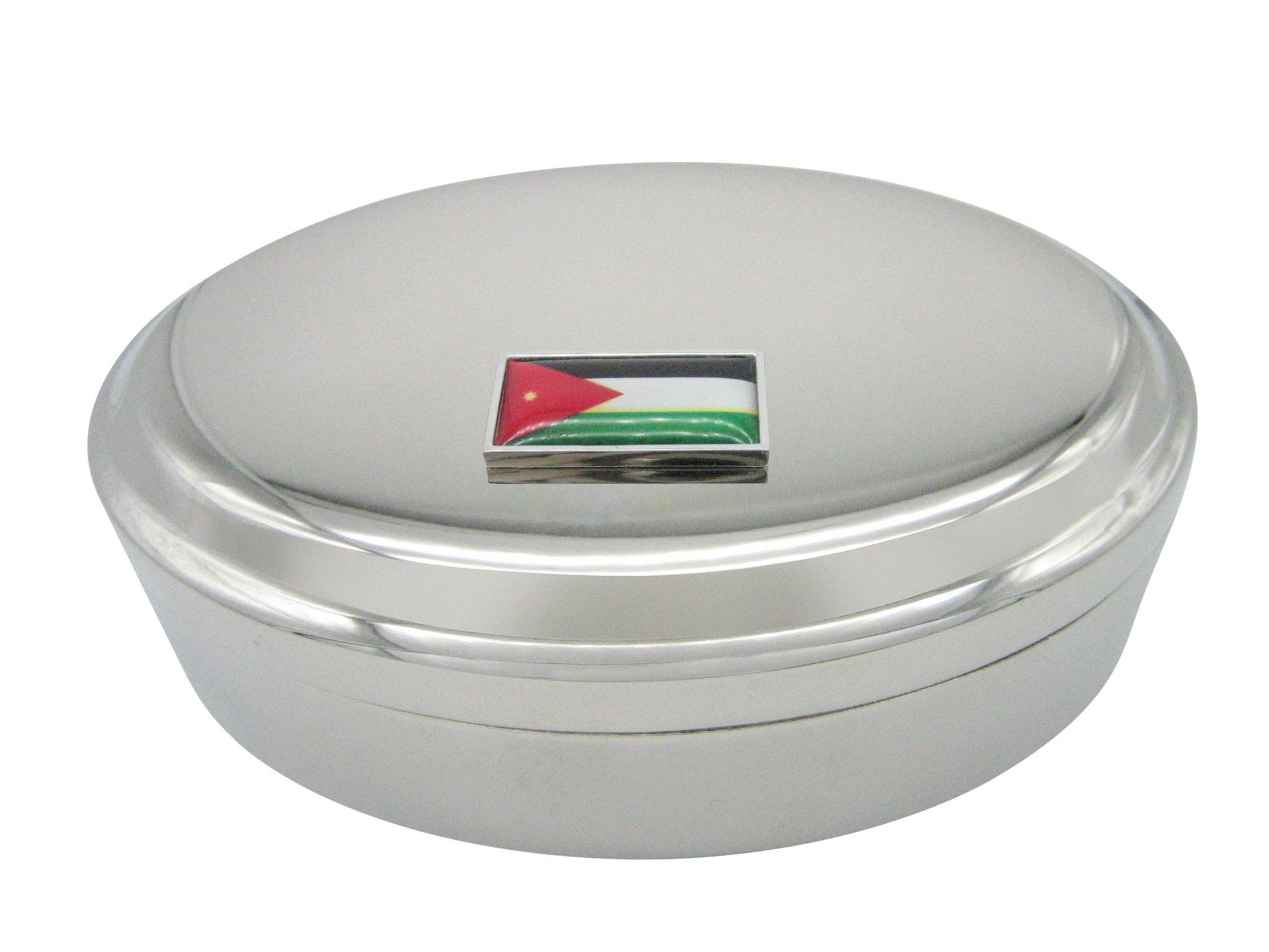 Thin Bordered Jordan Flag Pendant Oval Trinket Jewelry Box