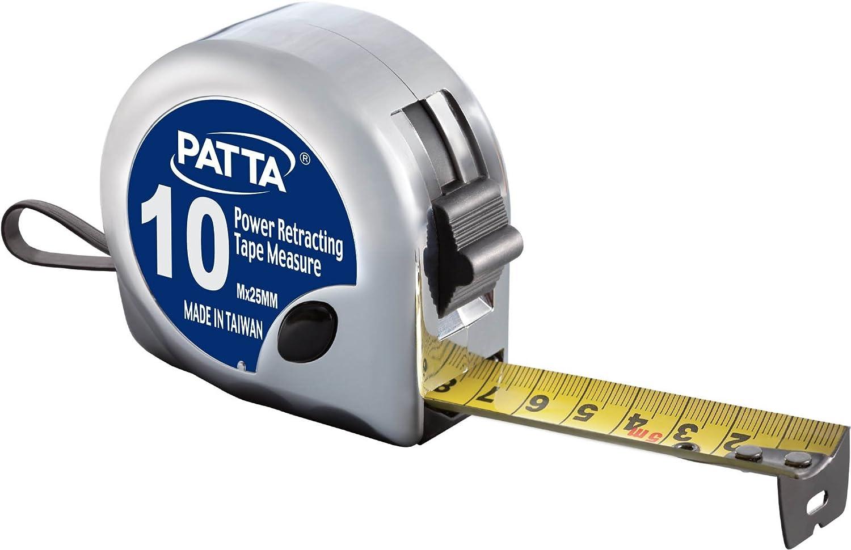Flex/ómetro Autoretractable Resistente a la Flexi/ón de 10M x 25mm PATTA