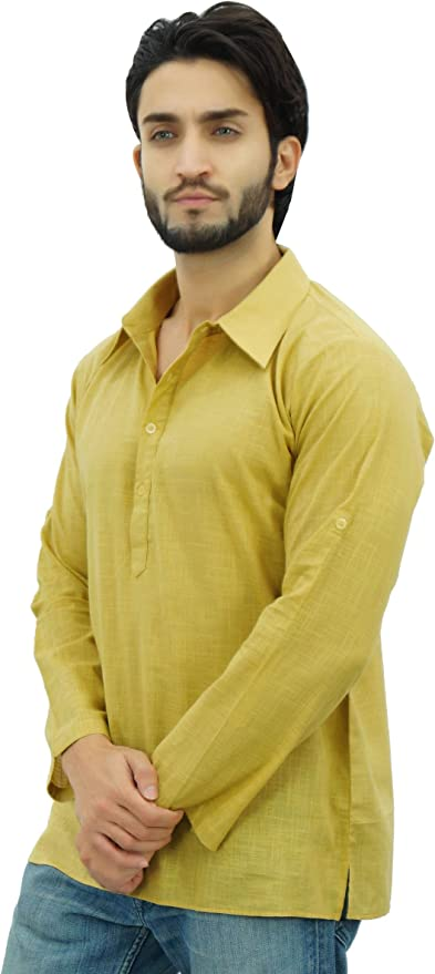 Atasi Men/'s Black Kurta Roll-Over Shirt Collar Neck Ethnic Indian Clothing