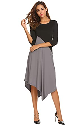 cbee0e031b40 Meaneor 2018 Fashion New Dress Contrast Color Casual Asymmetry Hem Casual  Midi Dresses for Women: Amazon.co.uk: Clothing