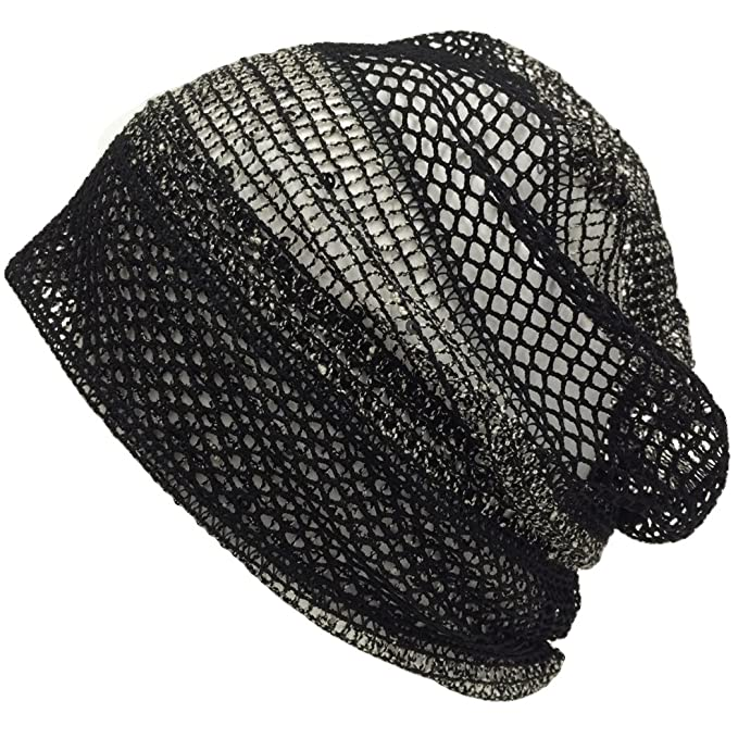 6b7654317fe Casualbox Womens Mesh Beanie Hat Loose Knit Cooling Summer Ladies Hat Black