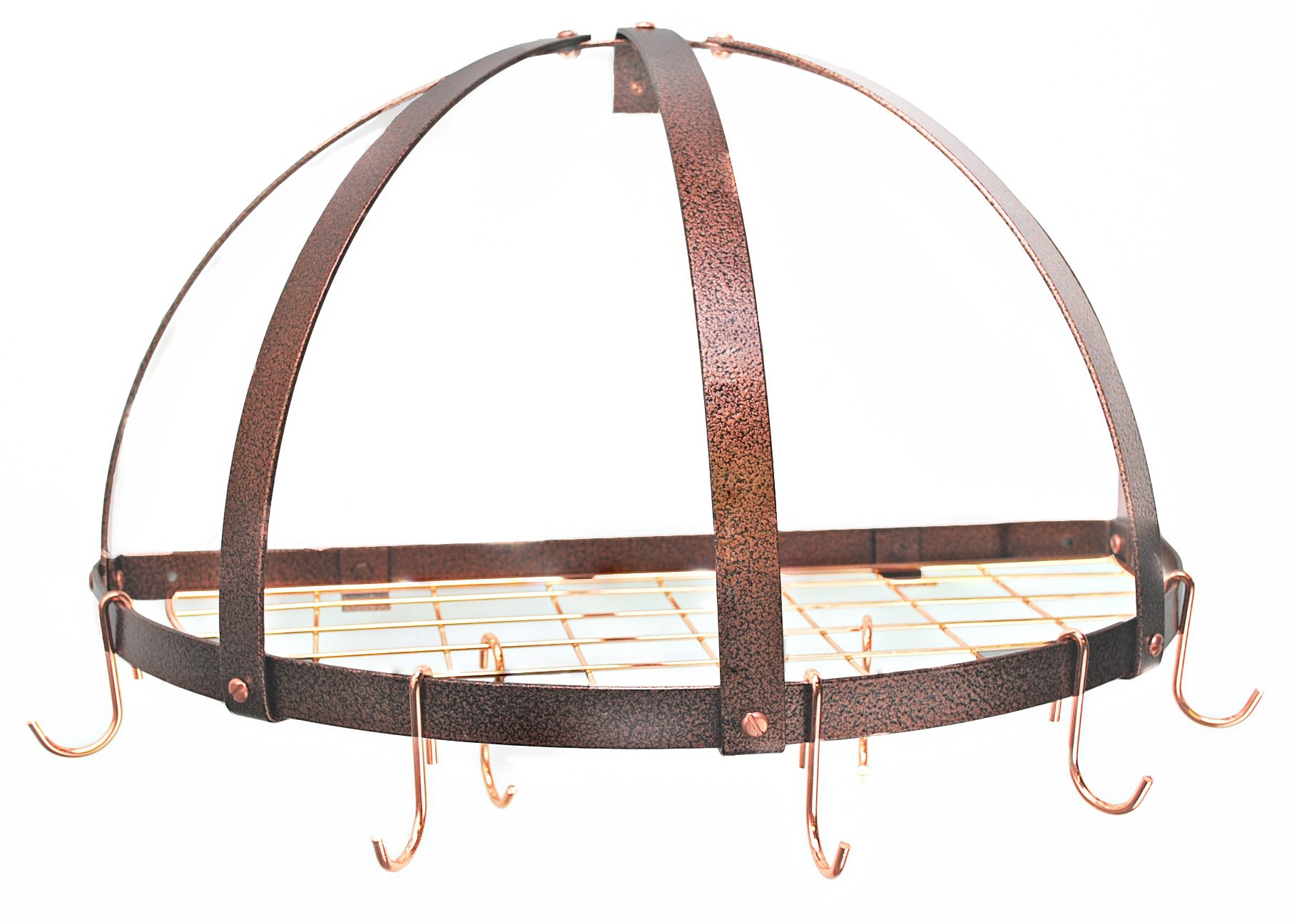 Half Dome Pot Rack w Grid in Black w Chrome Hooks (Hammered Copper/Copper)