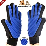 Xzhiyao Pet Grooming Gloves, Gentle Shedding Brush Efficient Pet Hair Remover Mitt Enhanced Five Finger Design Combing and Massage gloves For Dogs, Horses, Cats, and Other Pets With Long & Short Fur