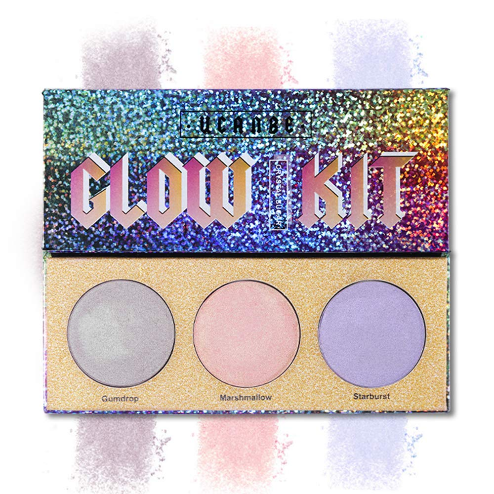 3 Colors hyper-reflective Extreme Highlighter Palette Pigment Smooth Eyeshadow Cosmetic Set KingKuBar